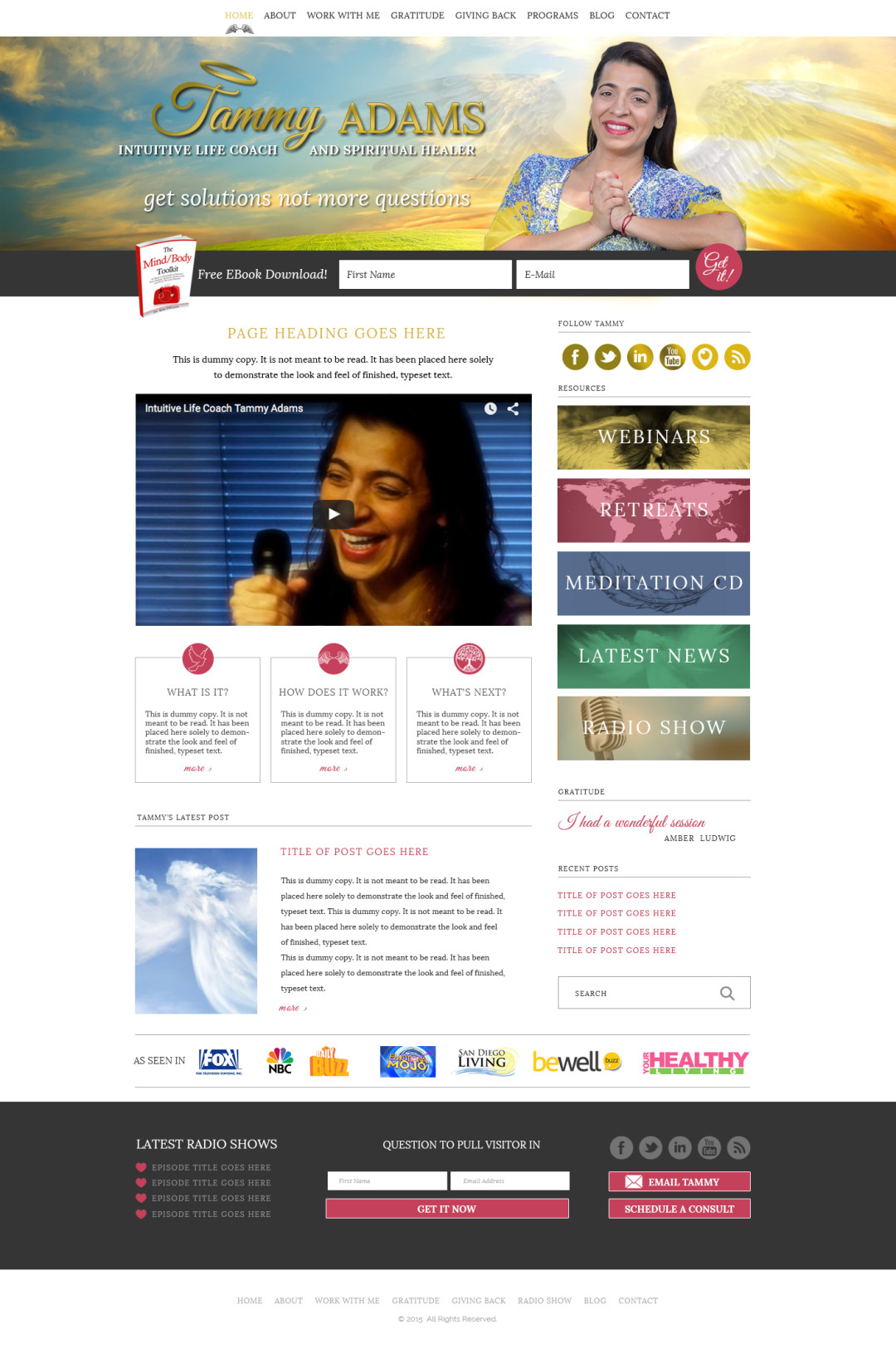 Custom Designed Wordpress Websites for Tammy Adams