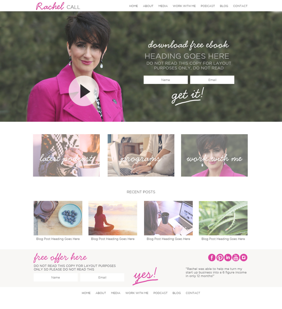 Custom Designed Wordpress Website for Rachel Call