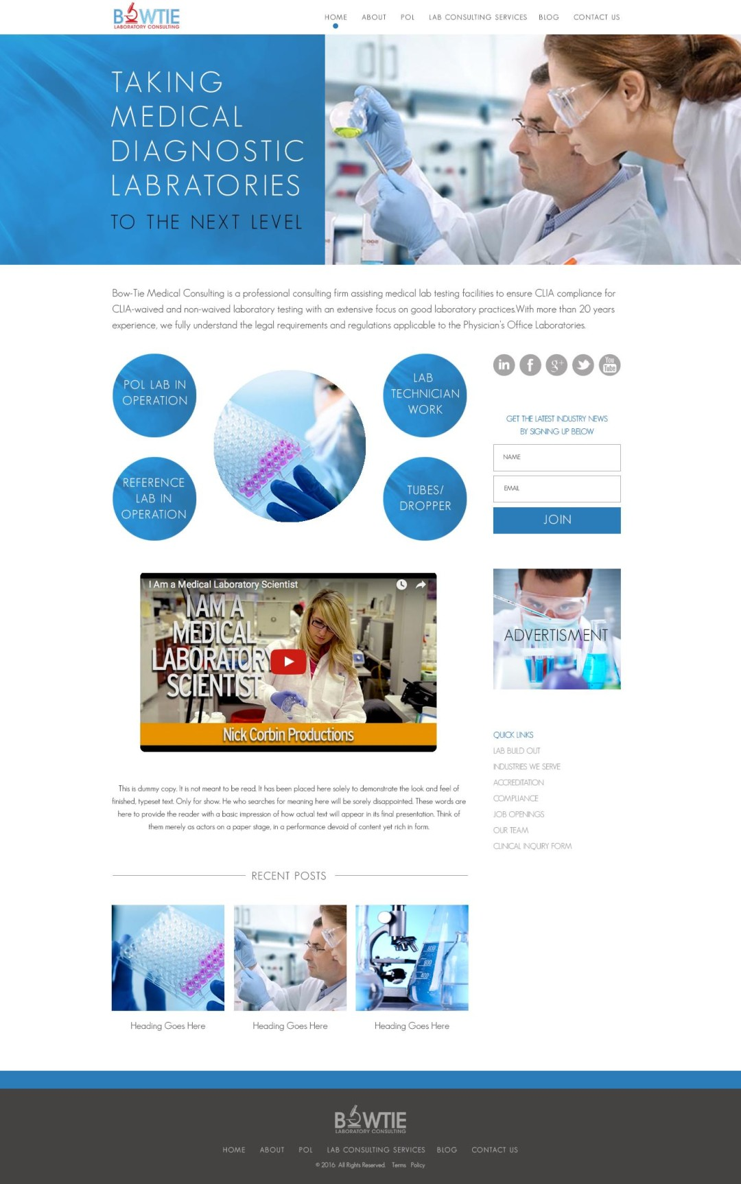 Custom Designed Wordpress Websites for Bowtie Medical Consulting