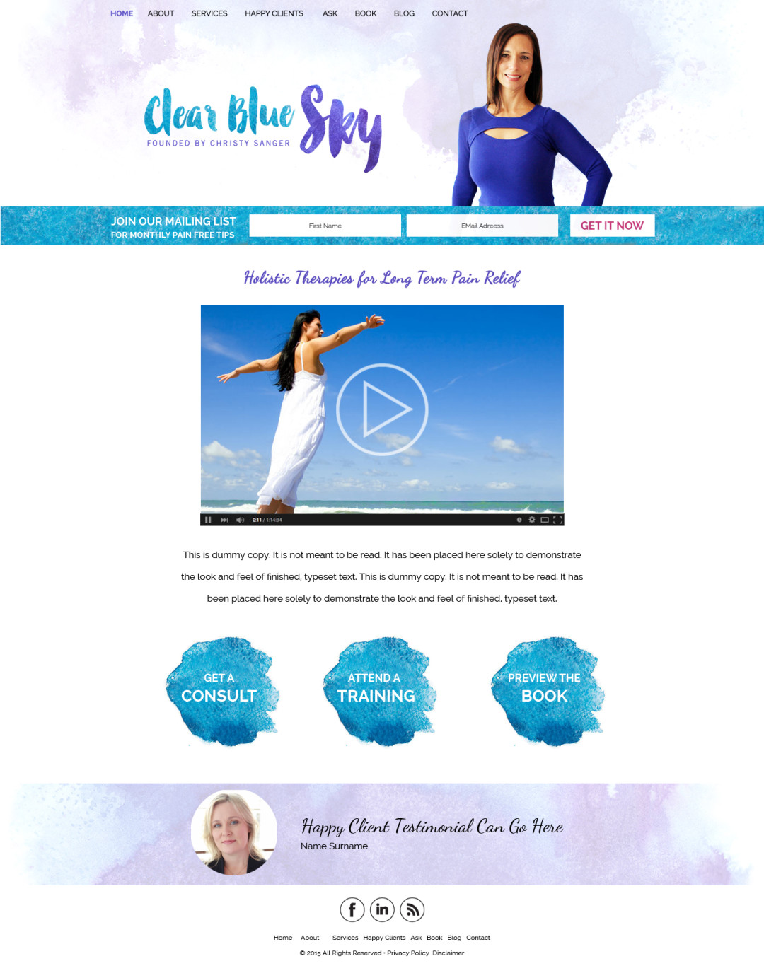 Custom Designed Wordpress Websites for Christy Sanger