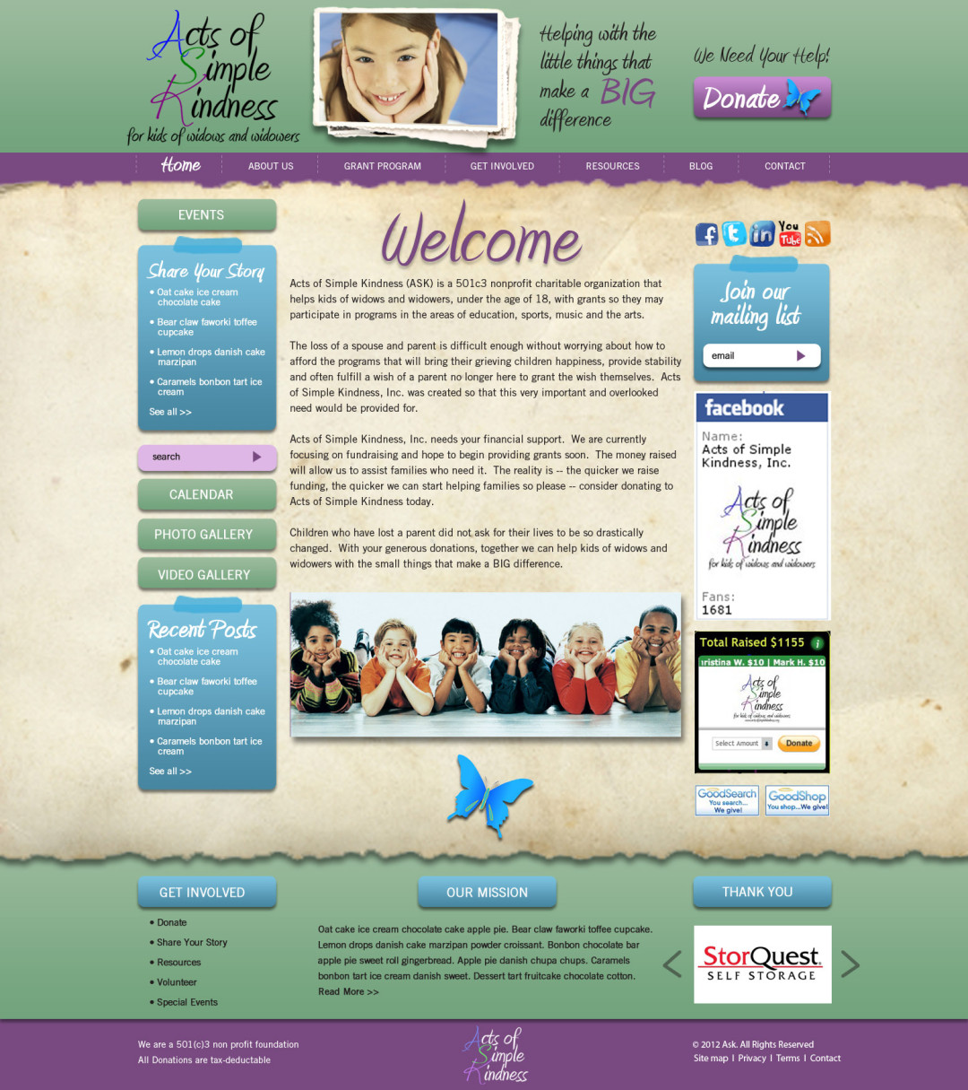 Custom Designed Wordpress Website for Acts of Simple Kindness