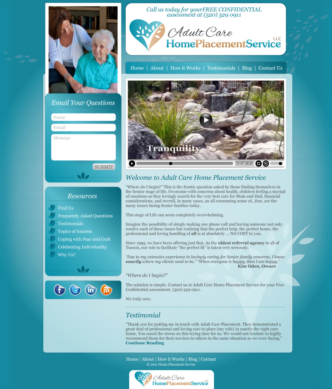 Custom Designed Wordpress Website for Adult Care Home Placement Service