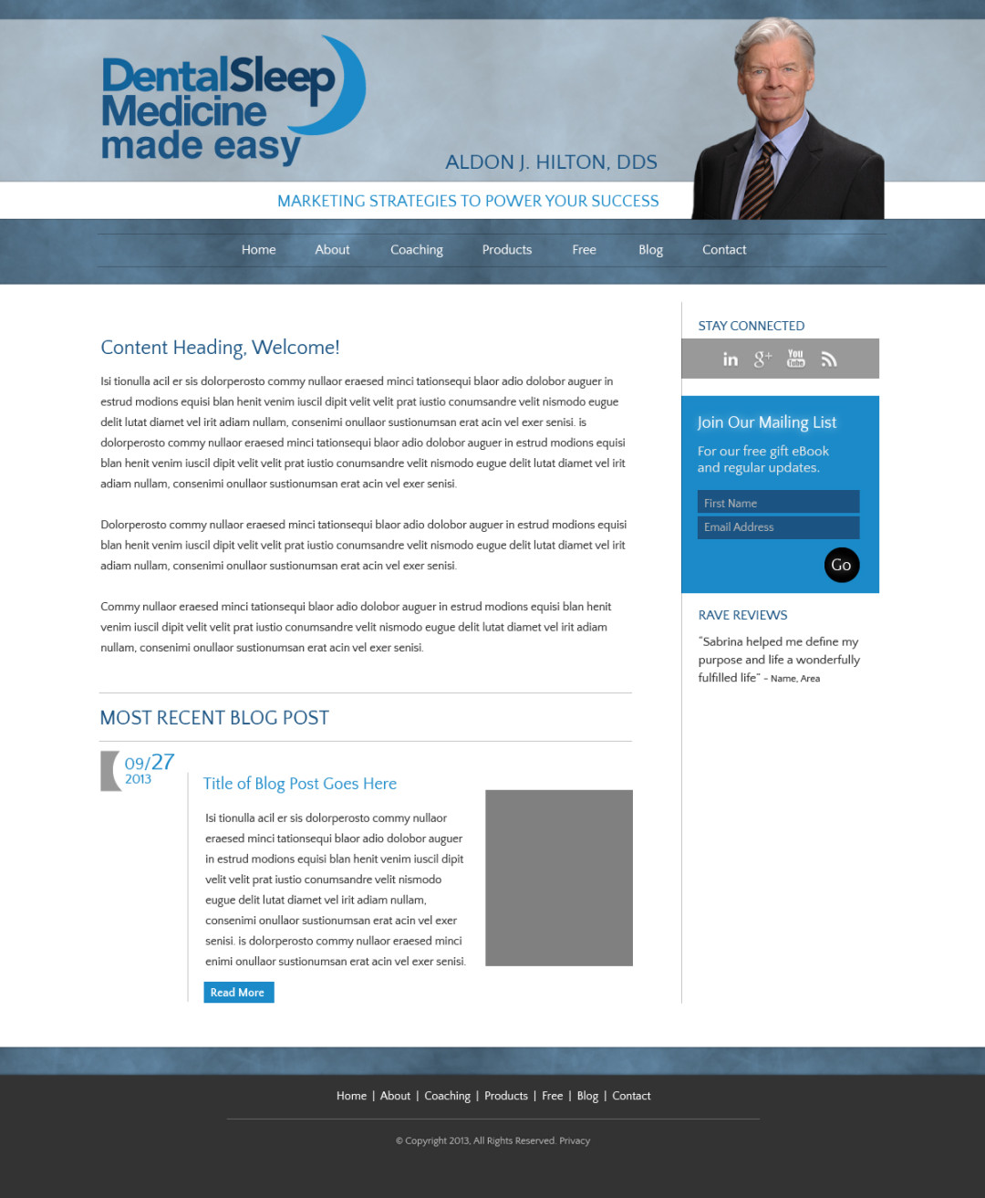 Custom Designed Wordpress Website for Aldon J. Hilton