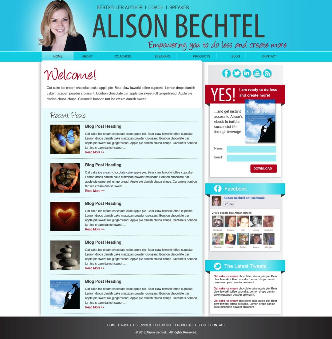 Custom Designed Wordpress Website for Alison Bechtel