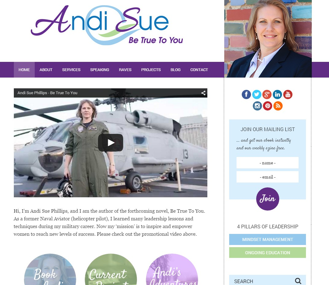 Custom Designed Wordpress Website for Andi Sue