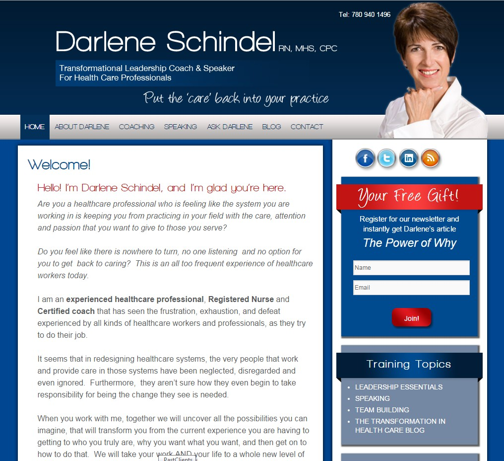 Custom Designed Wordpress Website for Darlene Schindel