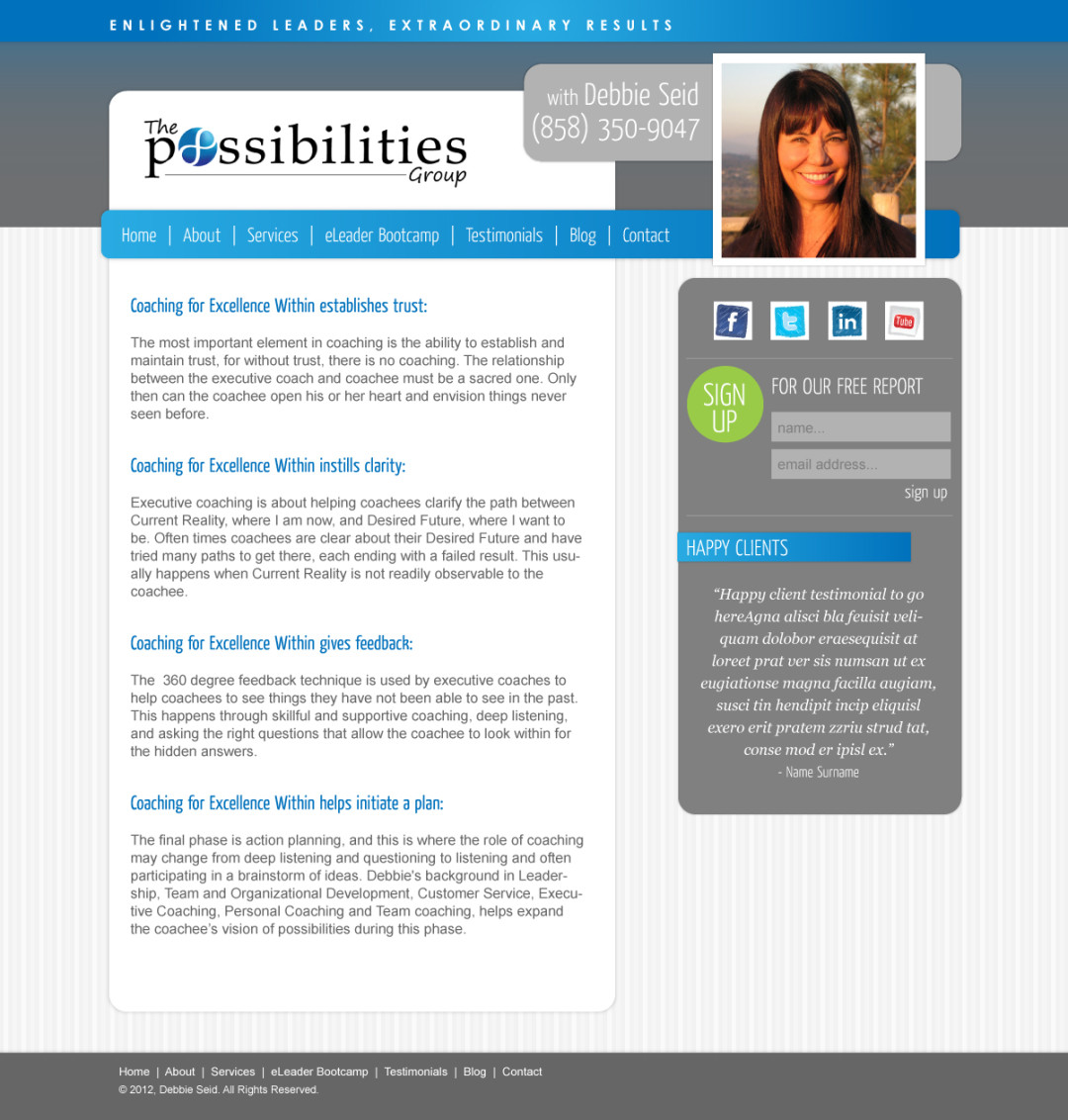 Custom Designed Wordpress Website for Debbie Seid