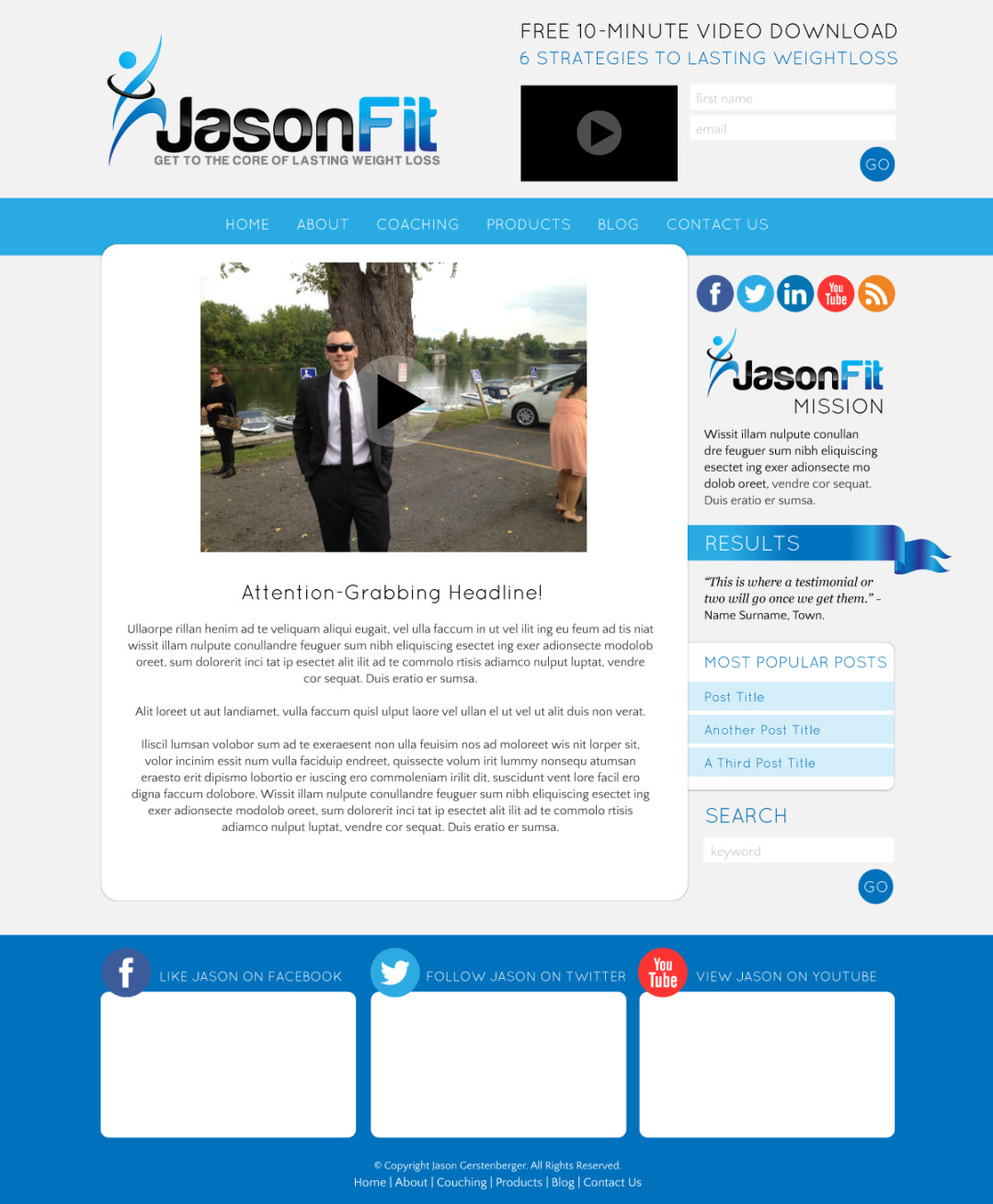 Custom Designed Wordpress Website for Jason Gerstenberger