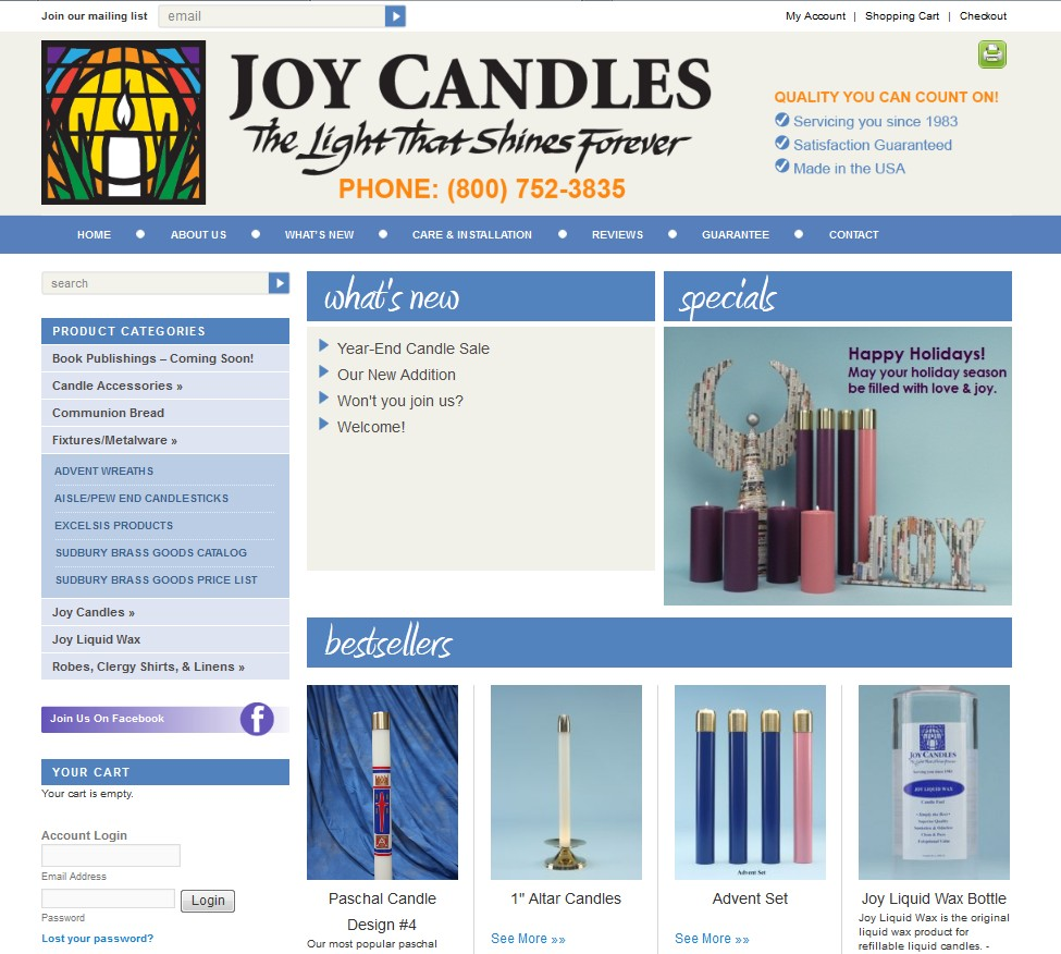 Custom Designed Wordpress Website for Joy Candles