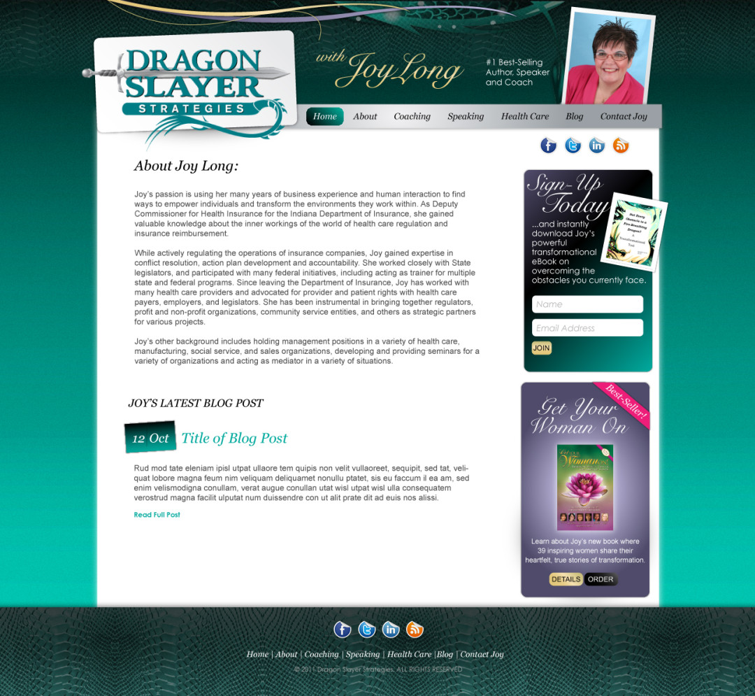 Custom Designed Wordpress Website for Joy Long