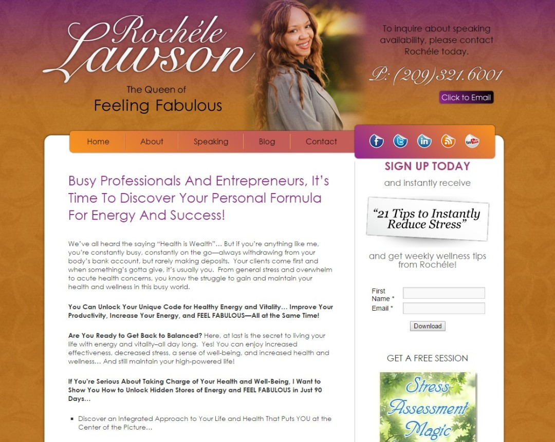 Custom Designed Wordpress Website for Rochele Lawson