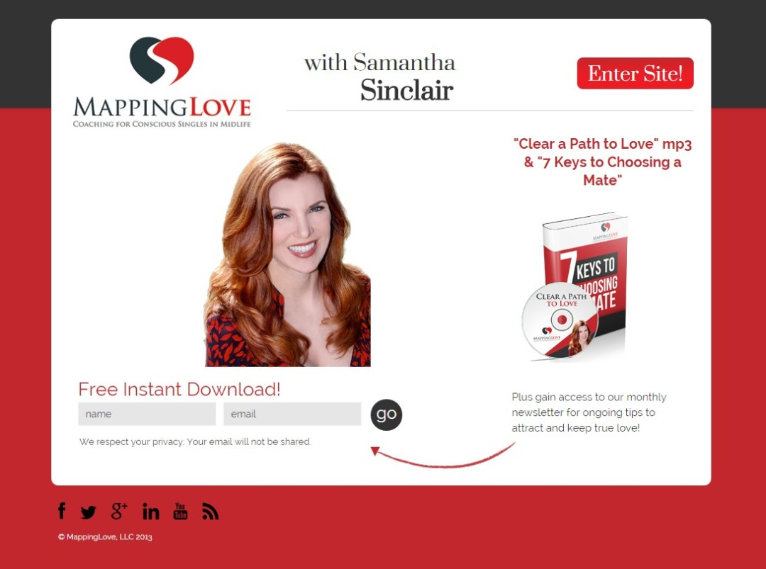 Custom Designed Wordpress Website for Samantha Sinclair