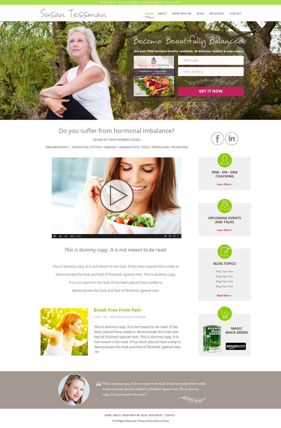 Custom Designed Wordpress Website for Susan Tessman