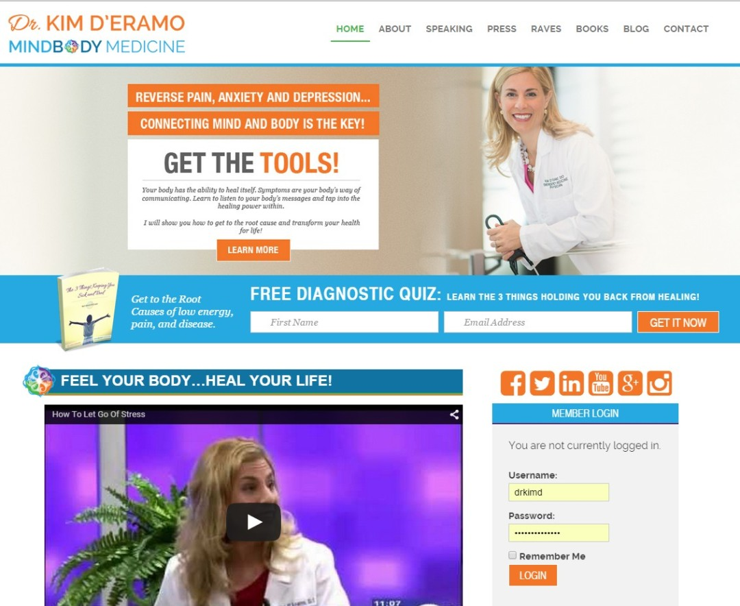Custom Designed Wordpress Website for Dr. Kim D'Eramo
