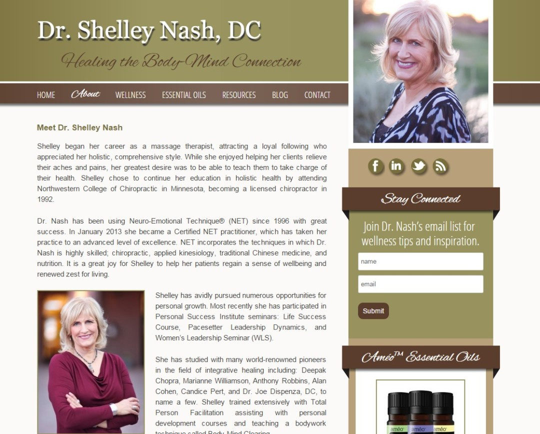 Custom Designed Wordpress Website for Dr. Shelley Nash