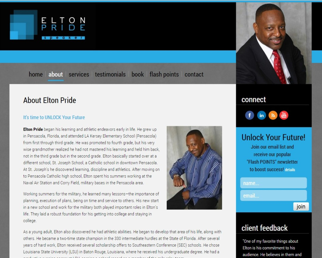 Custom Designed Wordpress Website for Elton Pride