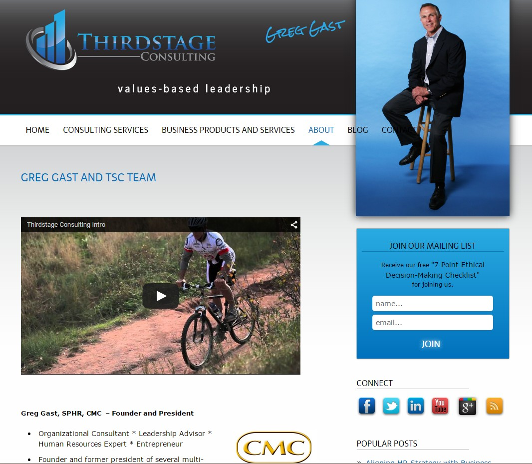 Custom Designed Wordpress Website for Greg Gast