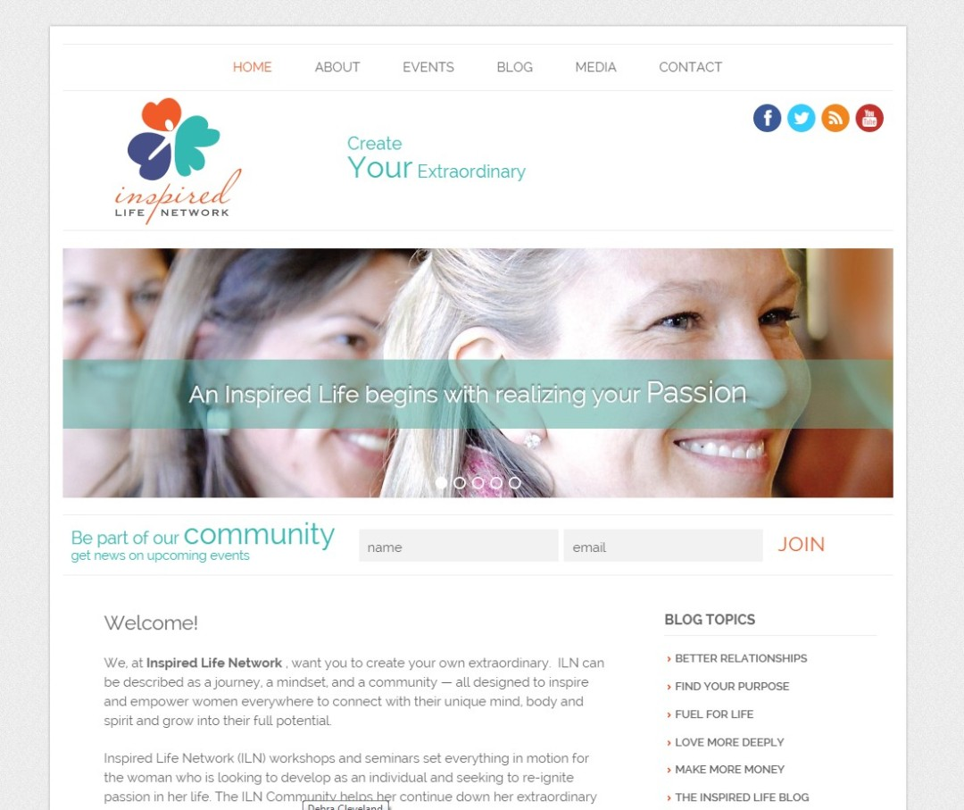 Custom Designed Wordpress Website for Inspired Life Network