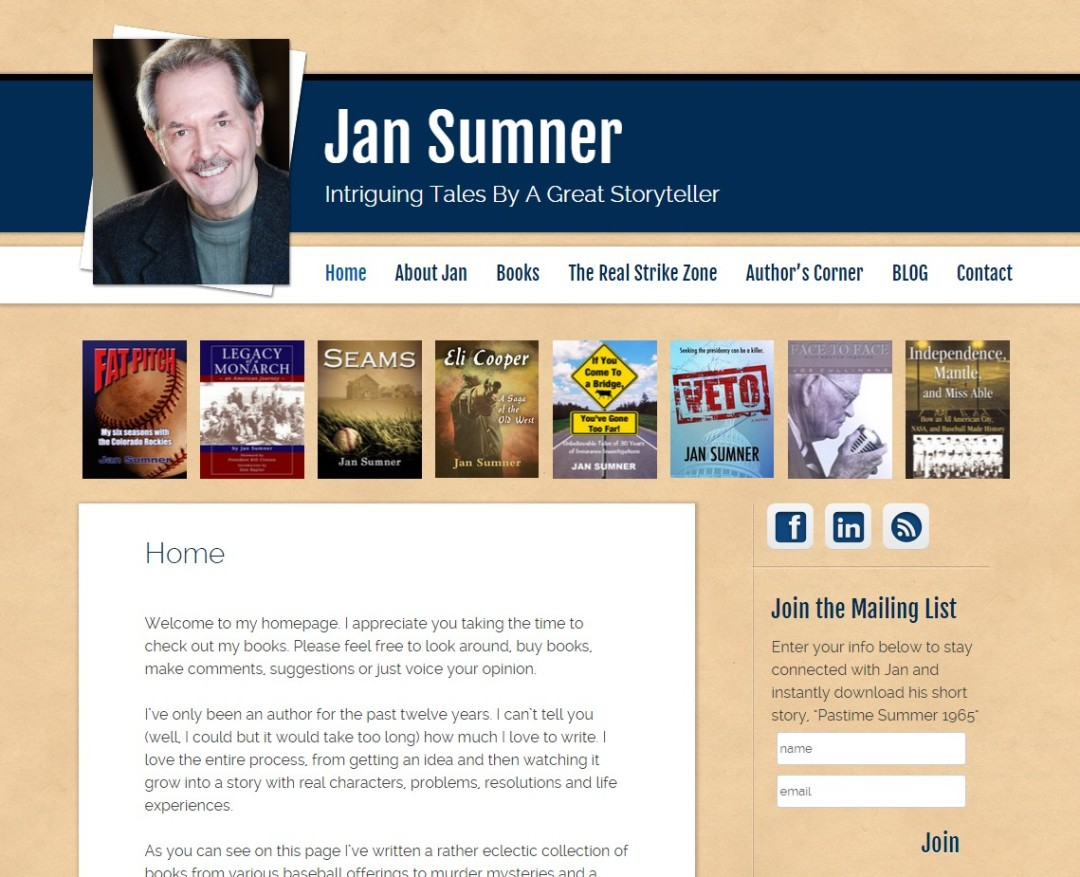 Custom Designed Wordpress Website for Jan Sumner