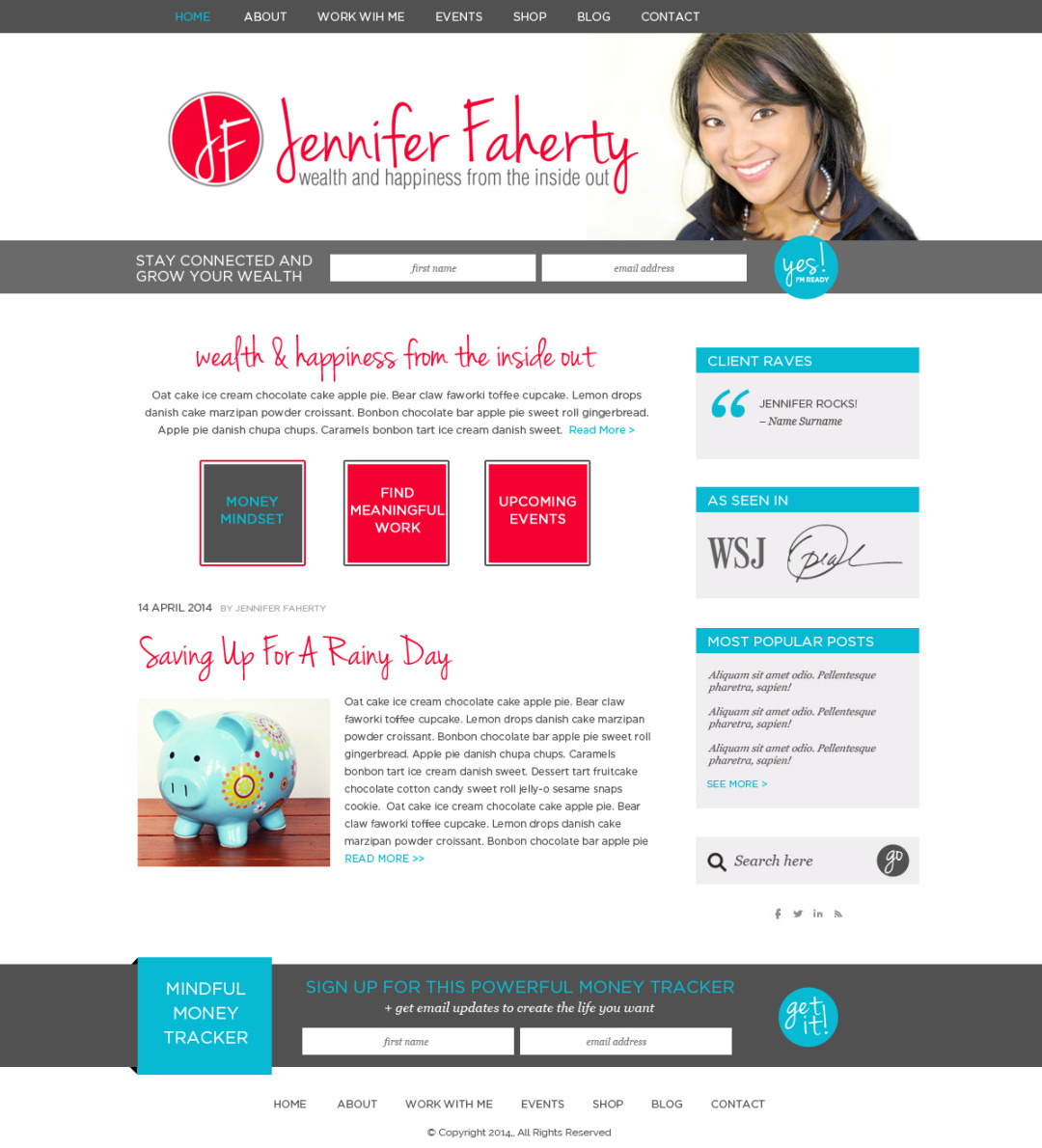 Custom Designed Wordpress Website for Jennifer Faherty