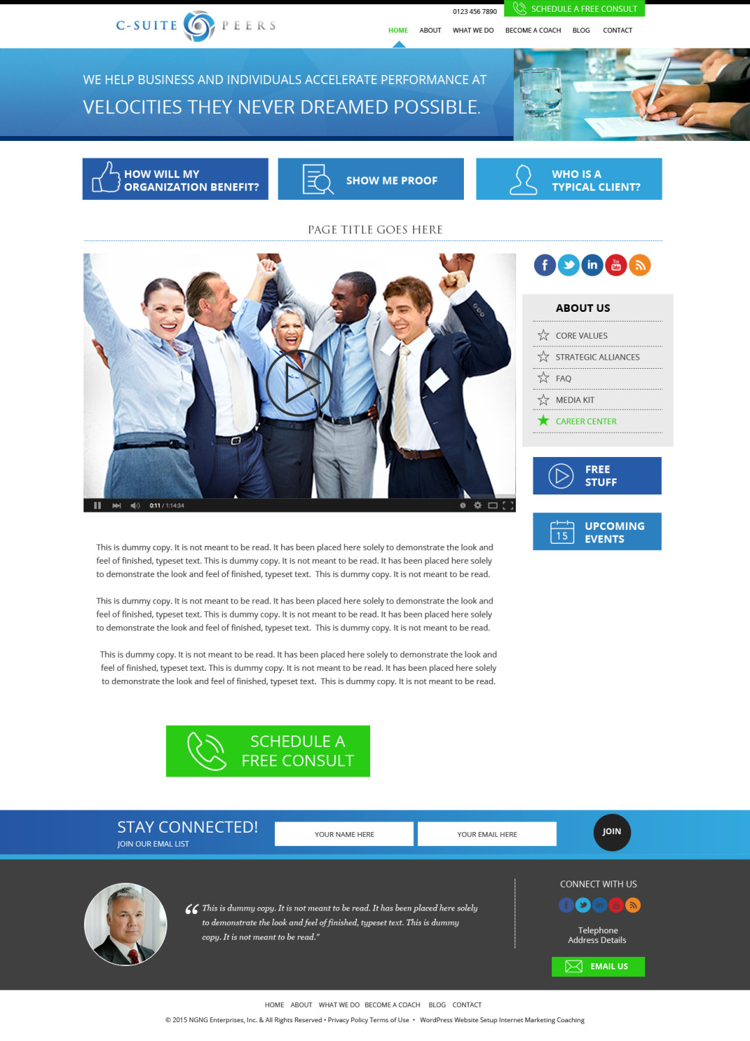 Custom Designed Wordpress Website for C-Suite Peers