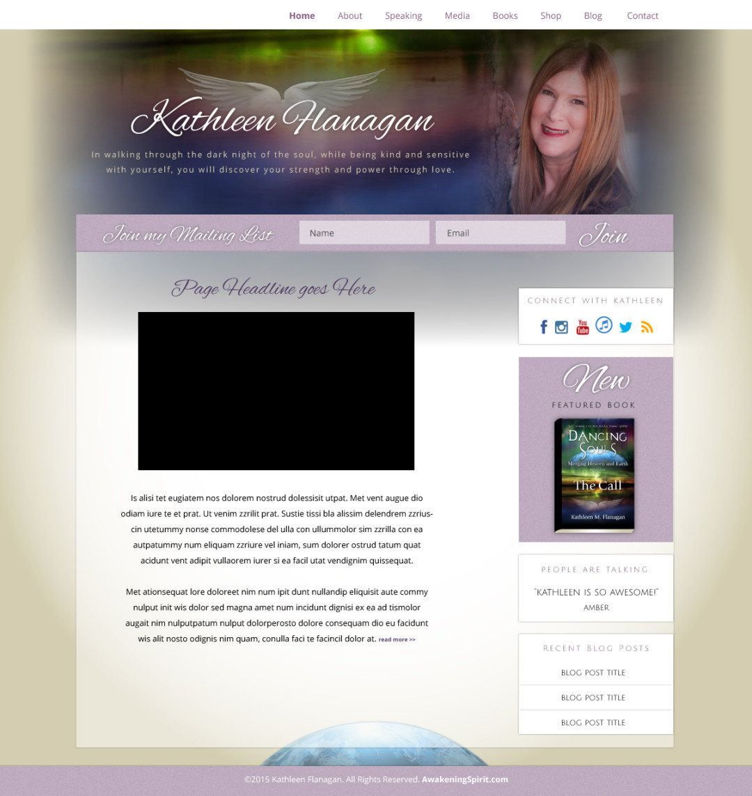 Custom Designed Wordpress Website for Kathleen Hanagan