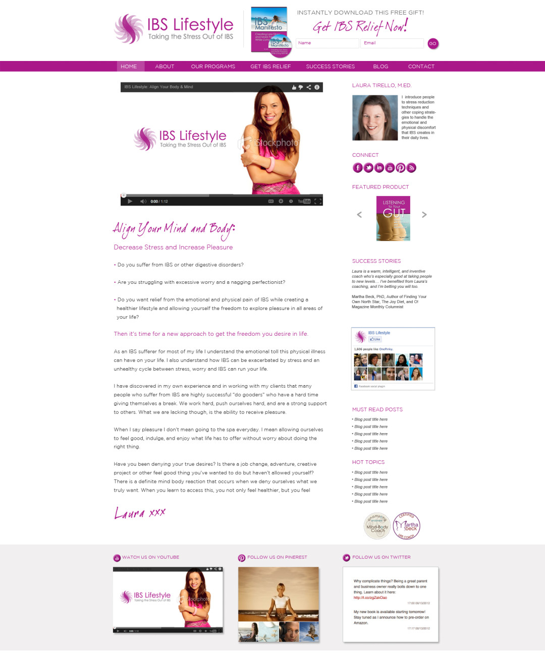 Custom Designed Wordpress Website for Laura Tirello
