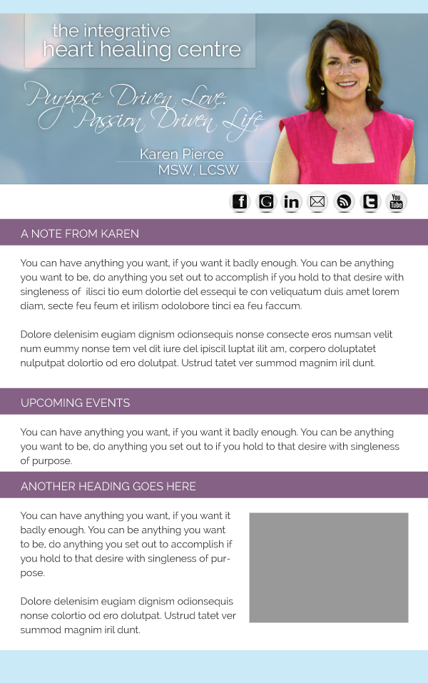 Email Marketing Newsletter for Karen Pierce