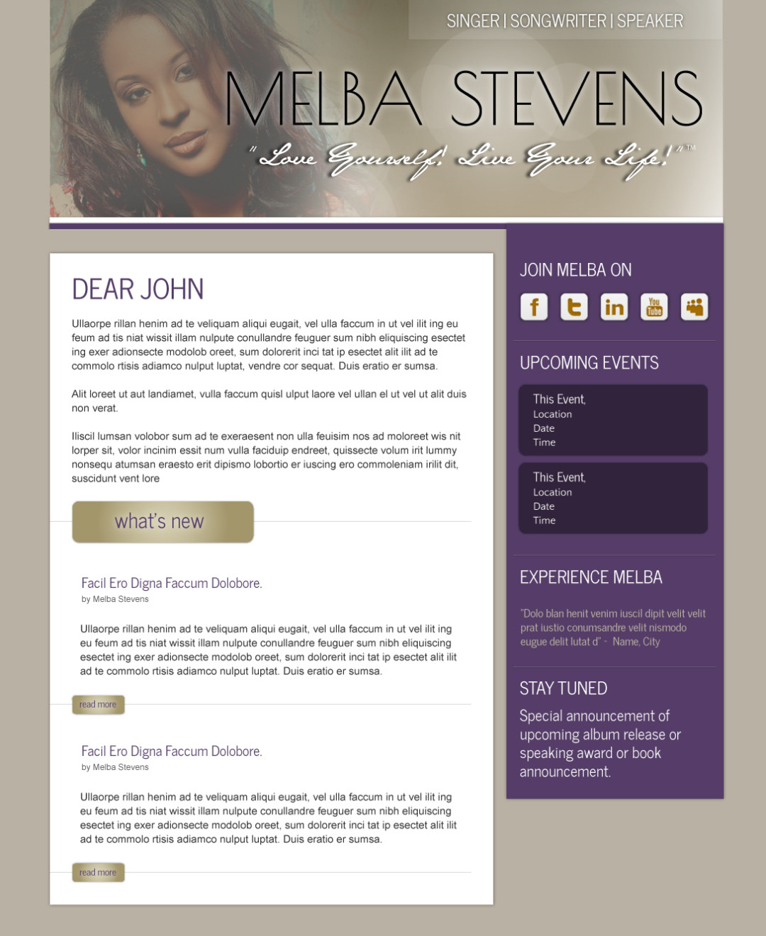 Email Marketing Newsletter for Melba Stevens