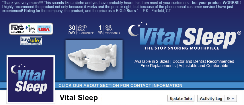 Facebook Cover Design for Vital Sleep