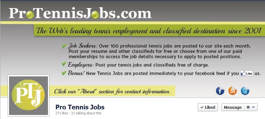Facebook Cover Design for Pro Tennis Jobs