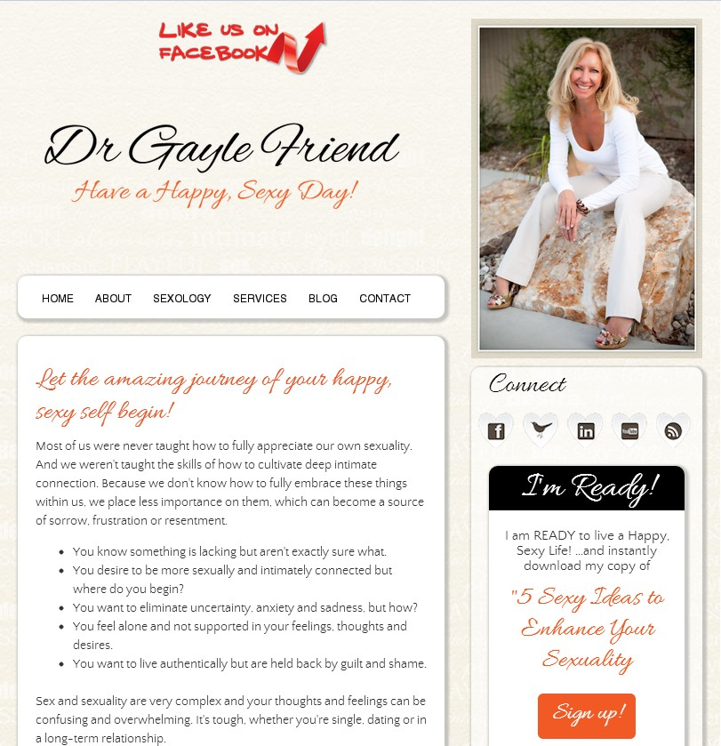 Facebook Landing Page for Dr. Gayle Friend