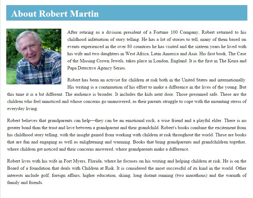 Facebook Landing Page for Robert Martin