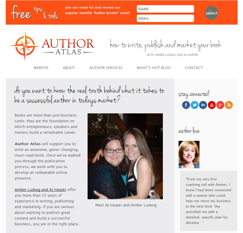 Facebook Landing Page for Author Atlas