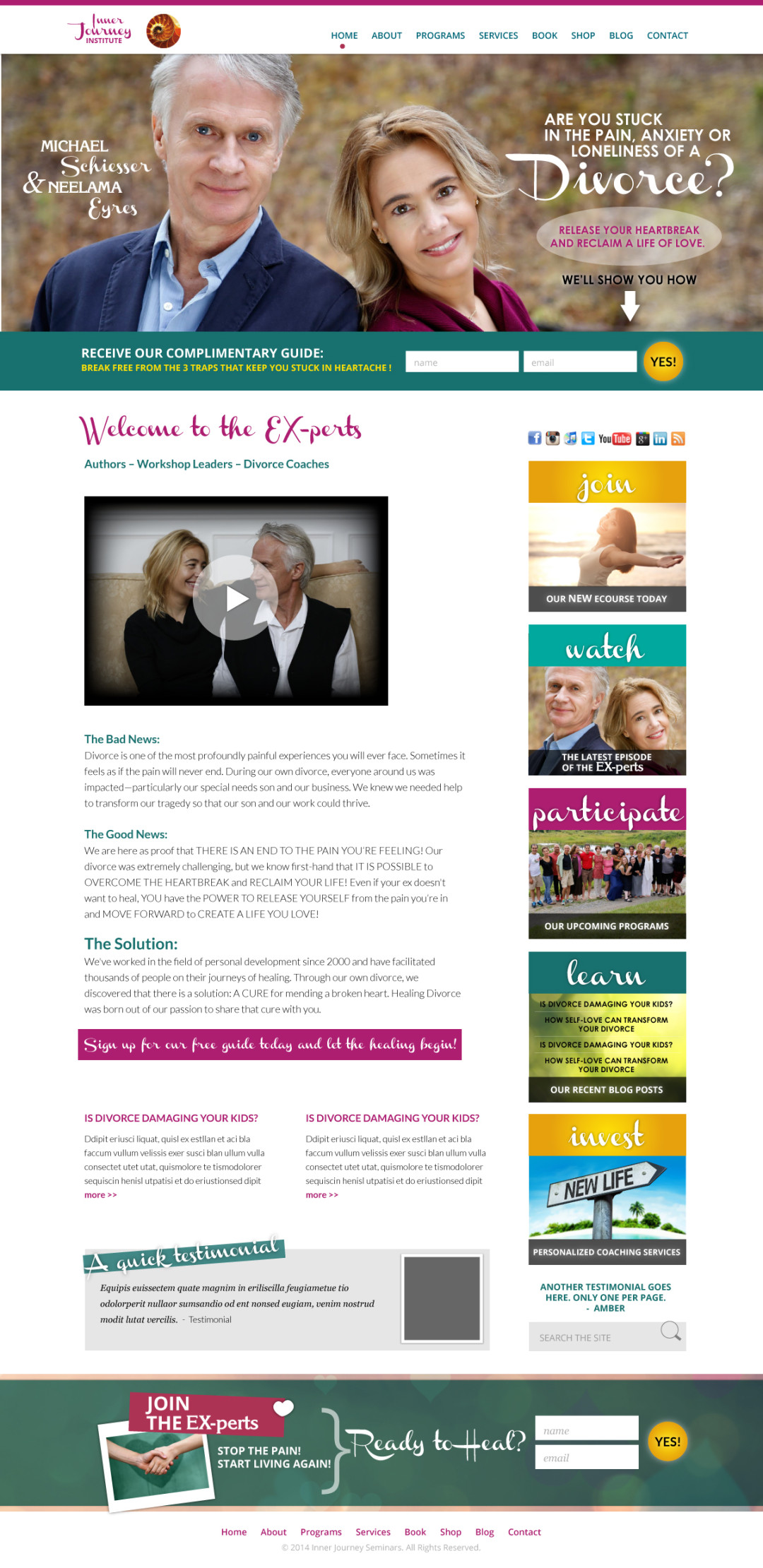 Custom Designed Wordpress Websites for Neelama Eyres & Michael Schiesser