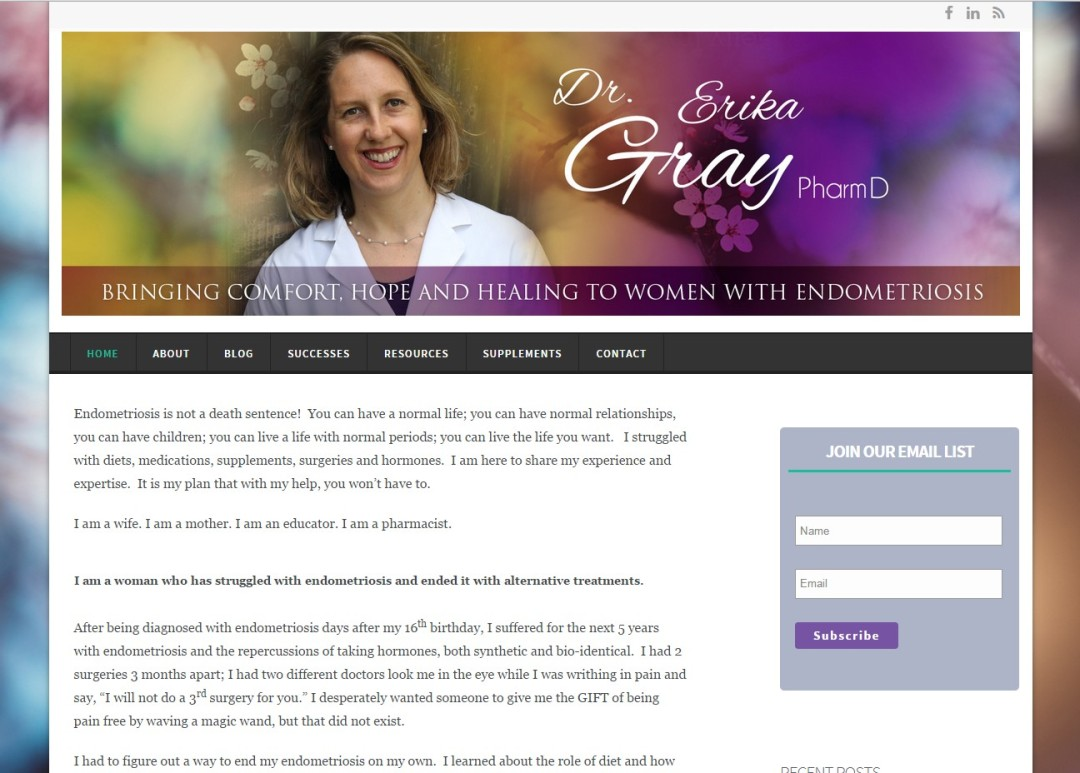 Pre-Made Theme Wordpress Website for Dr. Erika Gray