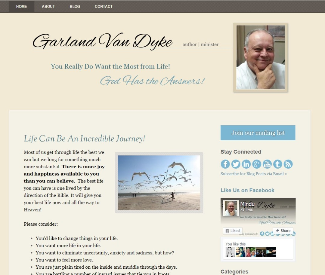 Pre-Made Theme Wordpress Website for Garland Van Dyke