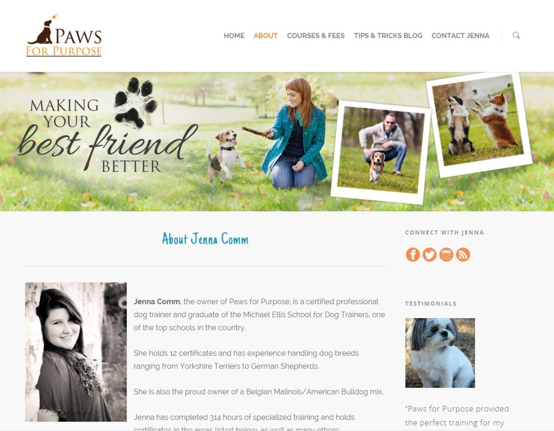 Pre-Made Theme Wordpress Website for Jenna Comm