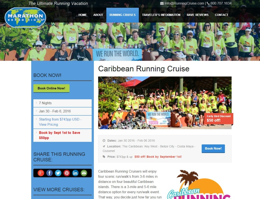 Pre-Made Theme Wordpress Website for Jenny Hadfield Running Cruise