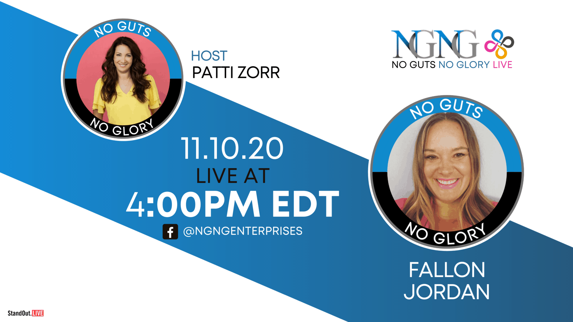 11.10-Fallon Jordan-NO GUTS NO GLORY LIVE (Twitter, YouTube, Blog)