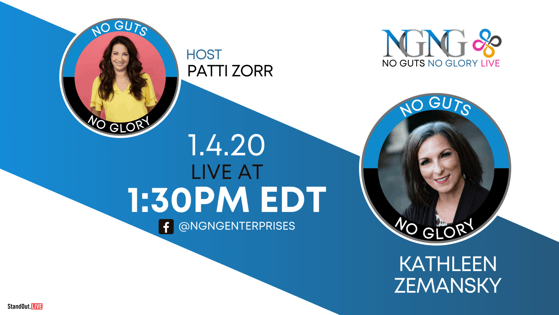 Kathleen Zemansky- NO GUTS NO GLORY LIVE (Twitter, YouTube, Blog)